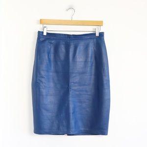 Cavalli Toronto genuine leather muted blue skirt